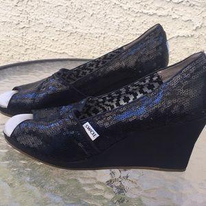 Toms Black Sequin Wedges